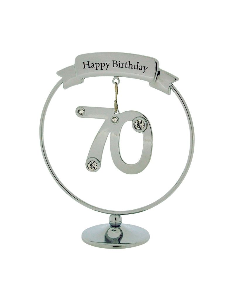 Crystocraft Chrome Plated Happy 70th Birthday Gift made with Swarovski Crystals