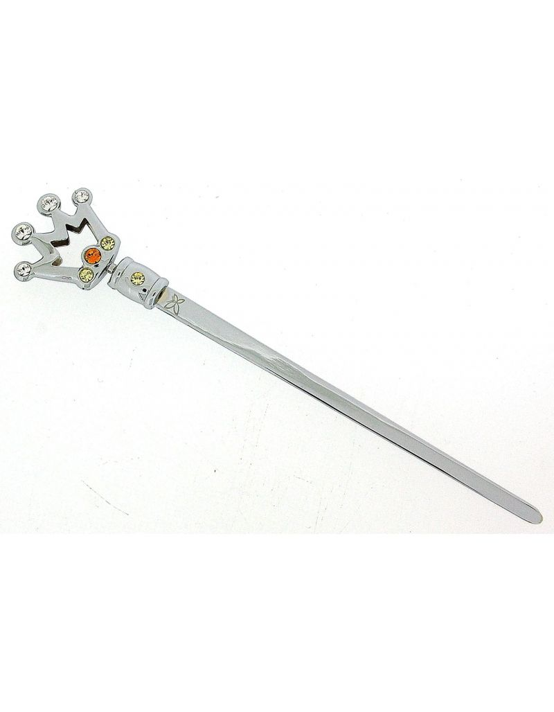 CRYSTOCRAFT Chrome Plated Made With Swarovski Crystals Crown Letter Opener