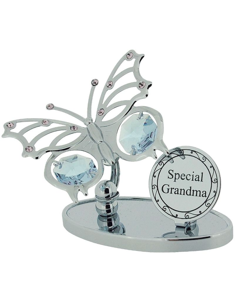 "Crystocraft ""Special Grandma Freestanding Chrome Plated Butterfly Ornament Made With Swarovski Crystals"