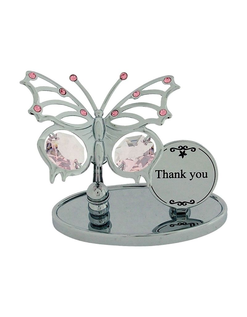 """Crystocraft """"Thank You"""" Gift Ornament Freestanding Chrome Plated Made With Swarovski Crystals"""