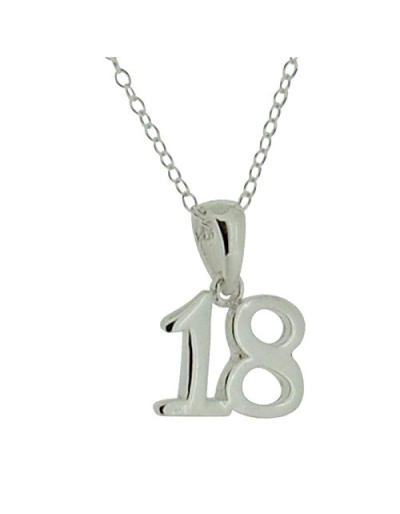 "Jo For Girls Sterling Silver ""18th Birthday"" Pendant Necklace 16 Inch"
