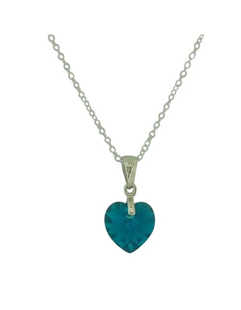 Jo For Girls Silver Blue Heart Pendant Made With Swarovski Crystals