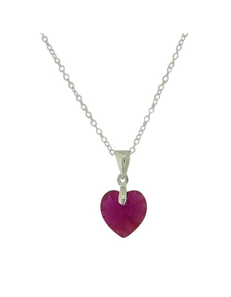 Jo For Girls Silver Fuchsia Heart Pendant Made With Swarovski Crystals