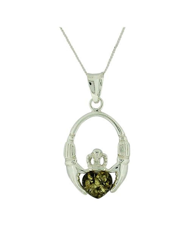 """The Olivia Collection S. Silver Green Amber Heart Claddagh Pendant 18"""" Chain"""