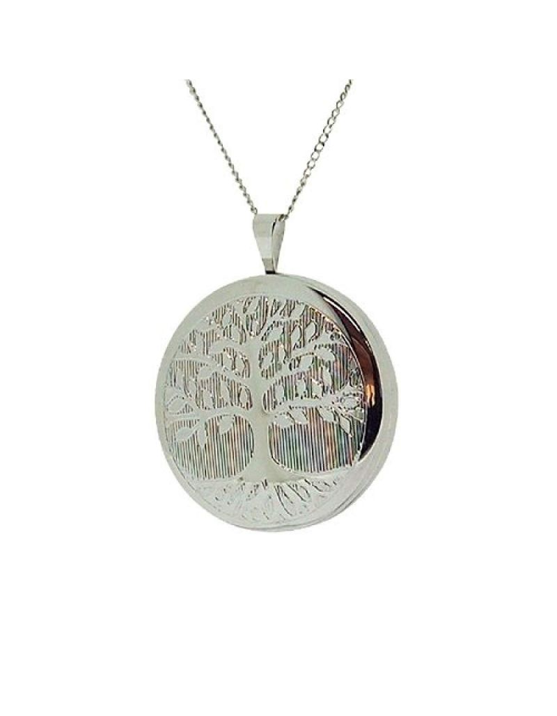 """TOC Sterling Silver """"Tree Of Life"""" Round Locket Necklace 18"""""""