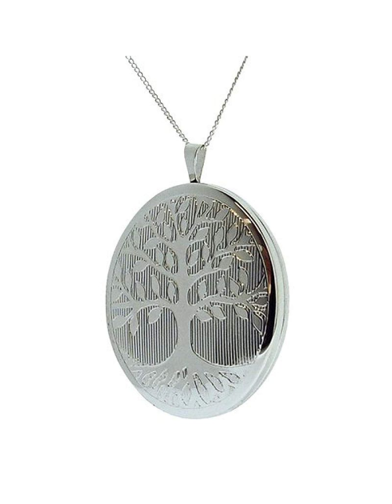 """TOC Sterling Silver """"Tree Of Life"""" 31mm Oval Locket Necklace 18"""""""