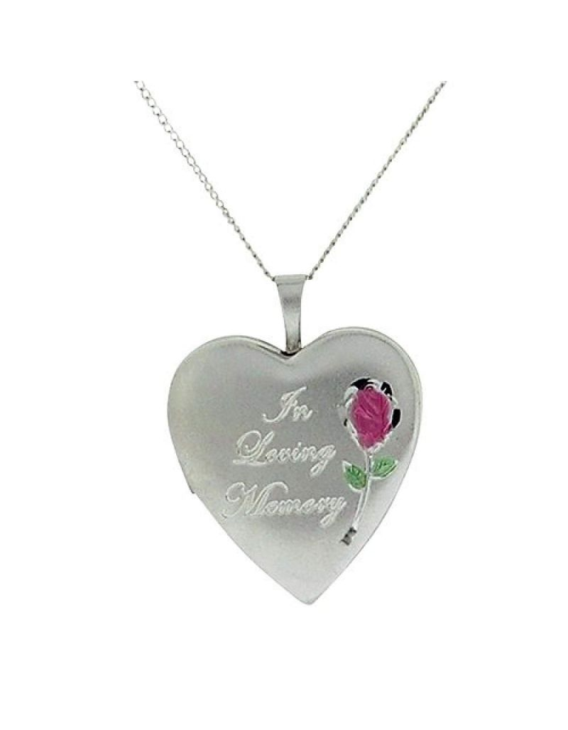 """TOC Sterling Silver """"In Loving Memory"""" Heart Cremation Locket Necklace 18"""""""