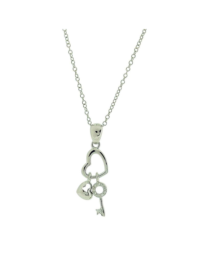 "Jo For Girls Sterling Silver ""Two Heart & Key Charm"" Pendant Necklace 14+2"""