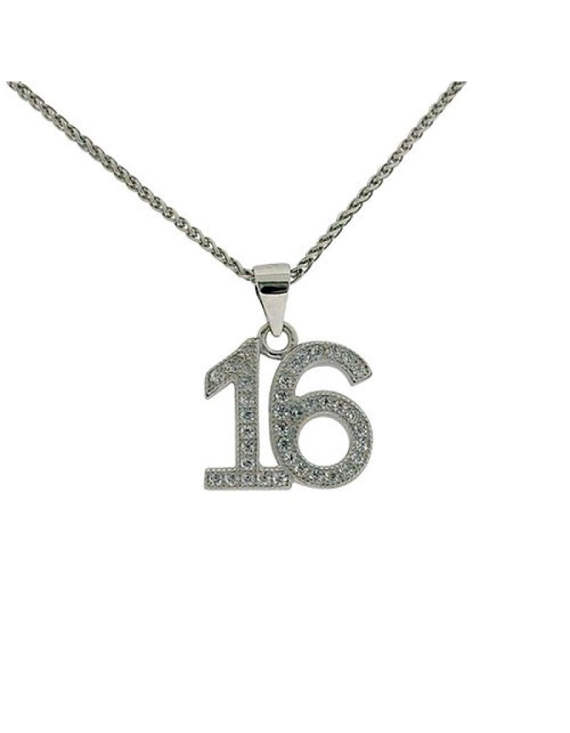 "Jo For Girls Sterling Silver ""16th Birthday"" CZ Set Pendant Necklace 14""+2"""