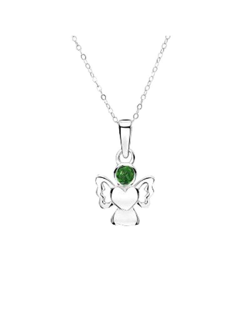 Jo For Girls Sterling Silver Angel Pendant Necklace with Simulated May Birthstone