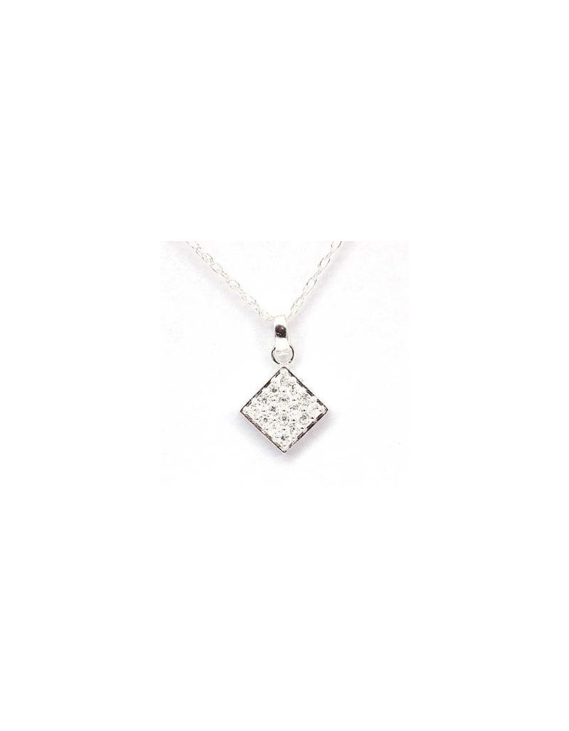 Toc Sterling Silver Cz Pendant on 18 Inch Chain