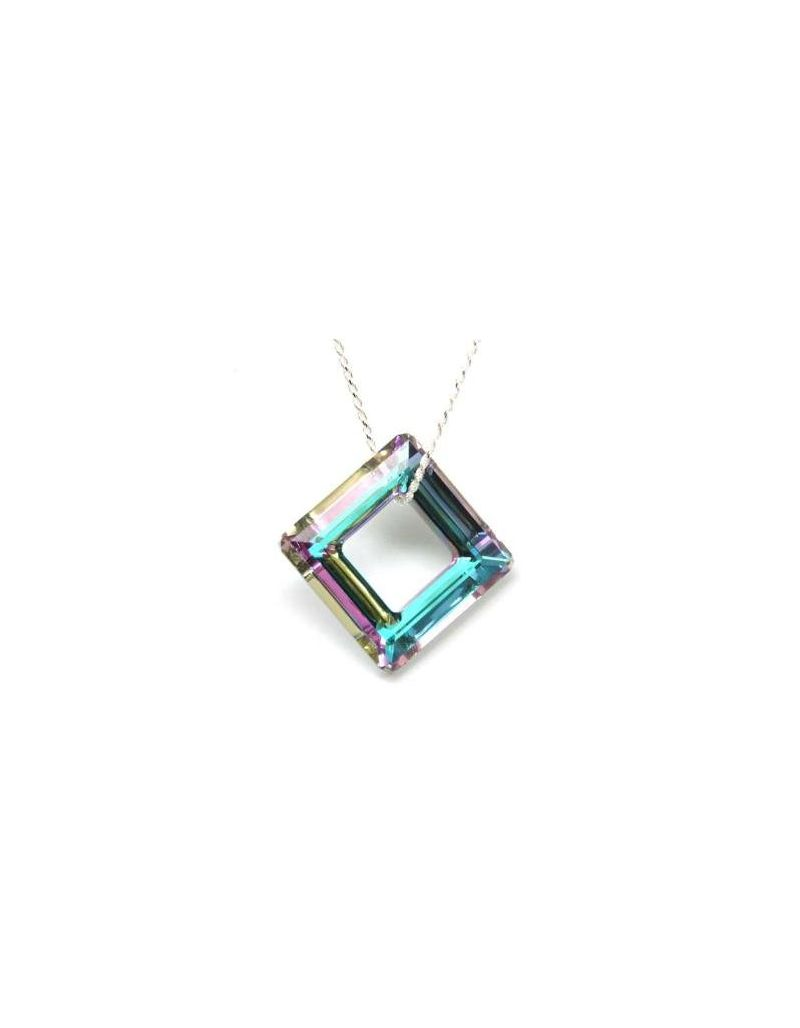 The Olivia Collection 30mm Cosmic Crystal Square Ring on 20 Inch Rope Chain