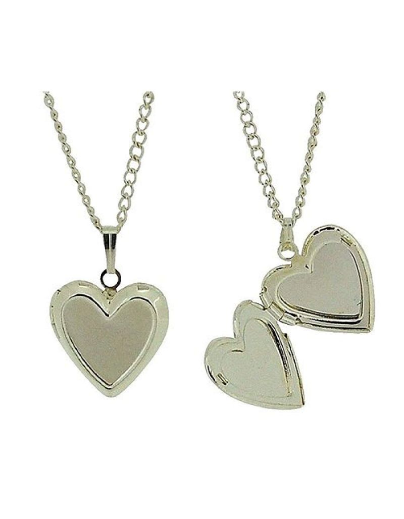 """Silvertone Heart Locket Pendant on 16"""" Chain - Pack of 2 - The Olivia Collection"""