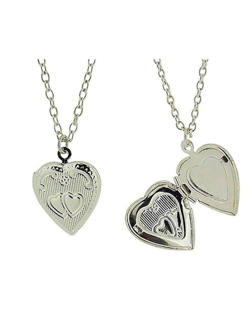"""Silvertone Engraved Heart Locket Pendant on 18"""" Chain - Pack of 2"""
