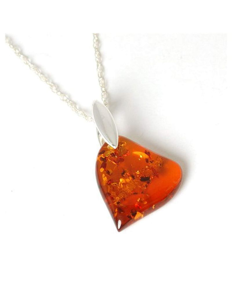 The Olivia Collection Sterling Silver Amber Heart Pendant