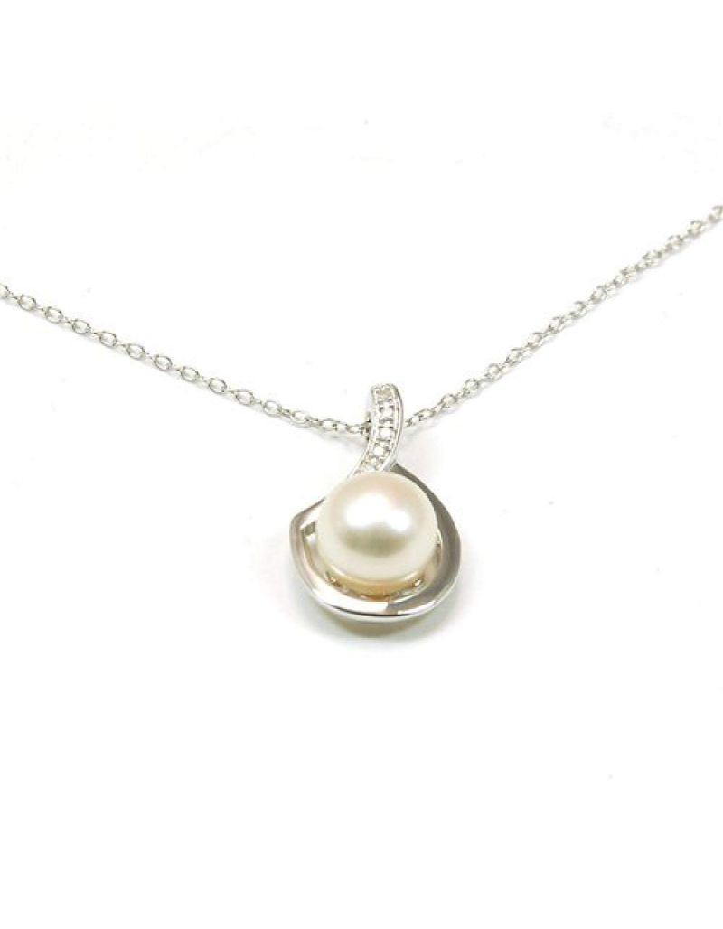 Toc Sterling Silver Pearl And Diamond Pendant on 18 Inch Chain