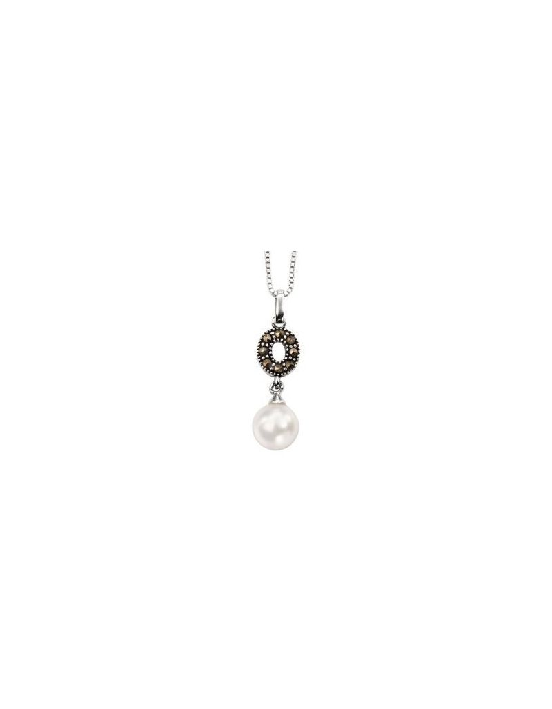 "Elements Marcasite Crystal, Imitation Pearl Drop Pendant, 18"" Chain, 925 Silver"