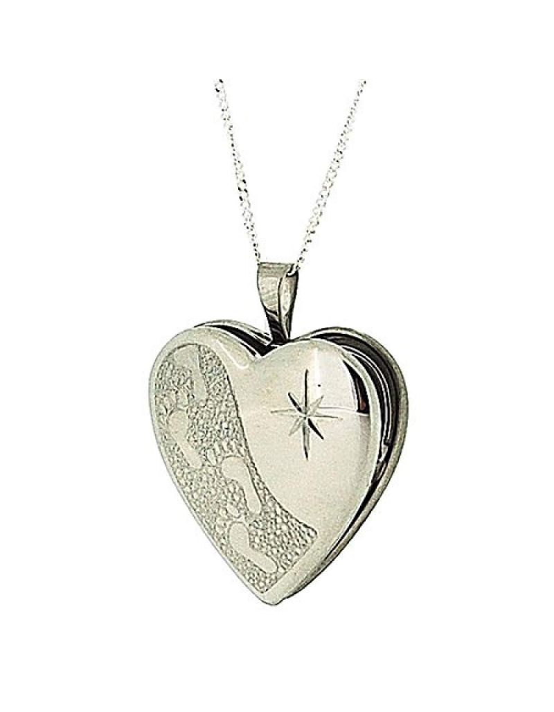 """TOC Sterling Silver """"Footprints in the Sand"""" Heart Locket Necklace 18"""""""
