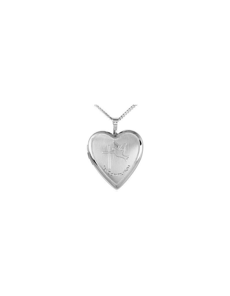 """TOC Sterling Silver """"1st Communion"""" Engraved Heart Locket Necklace 14"""""""