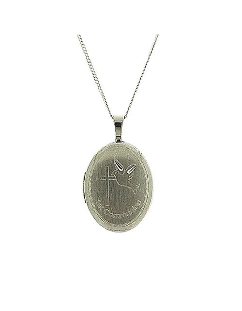 """TOC Sterling Silver """"1st Communion"""" Engraved Oval Locket Necklace 18"""""""