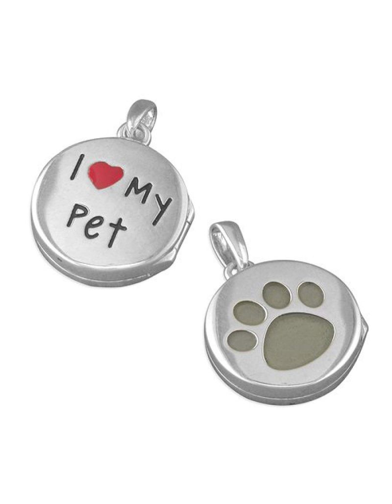 """TOC Sterling Silver 14mm I Love My Pet Round Locket, on 18"""" Chain"""