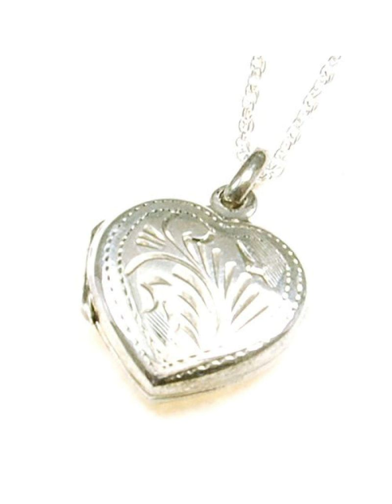 """The Olivia Collection Sterling Silver 16mm Engraved Heart Locket on18"""" Chain"""