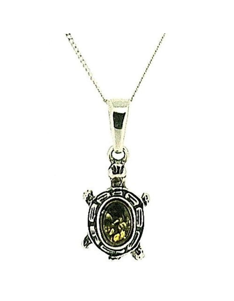 """The Olivia Collection 925 Silver Turtle Tortoise Cognac Amber Pendant, 18"""" Chain"""