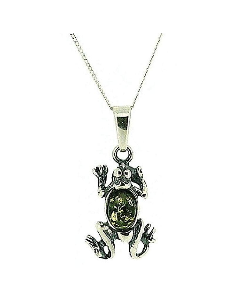 """The Olivia Collection 925 Silver Frog Green Amber Pendant, 18"""" Chain"""