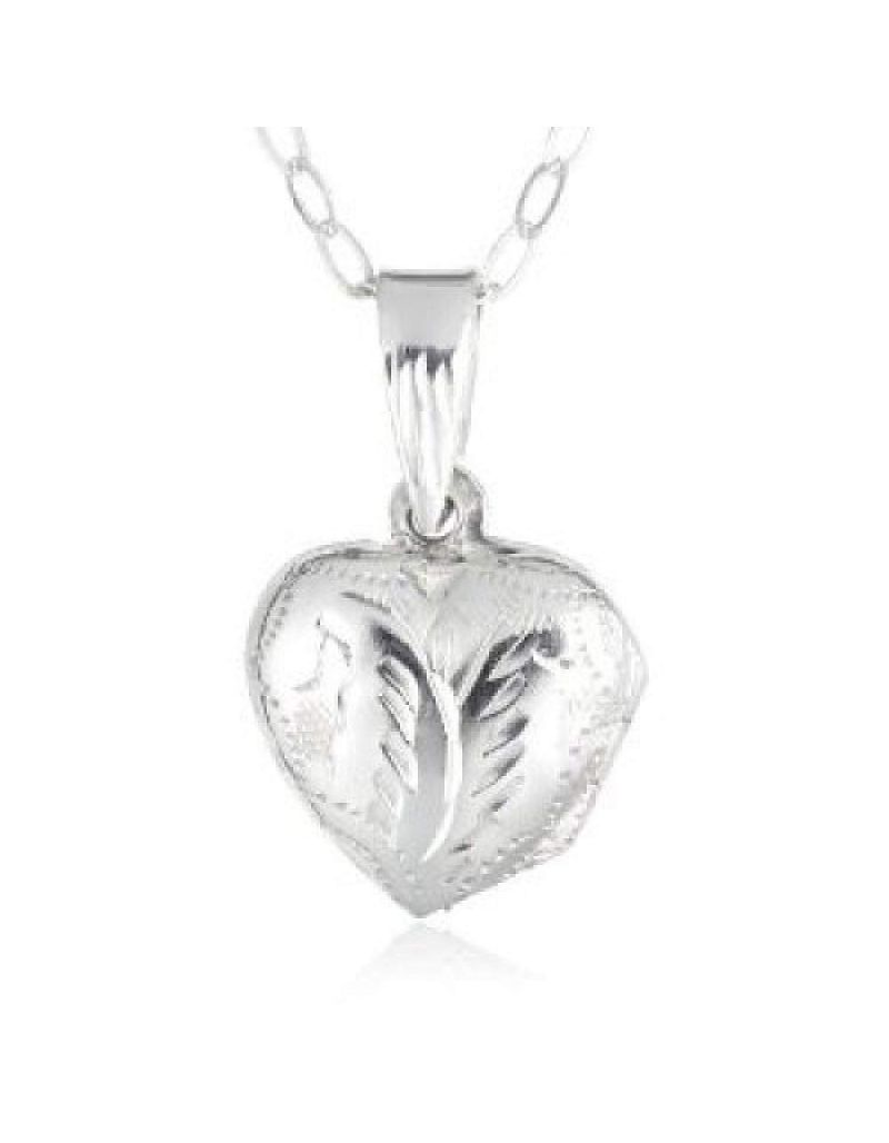 """Jo For Girls Sterling Silver Engraved Puffed Heart Locket Necklace 14"""""""