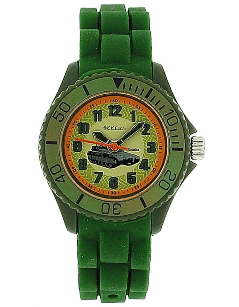 Tikkers Boys Khaki Green Army Tank Design Rubber / Silicone Strap Watch TK0027