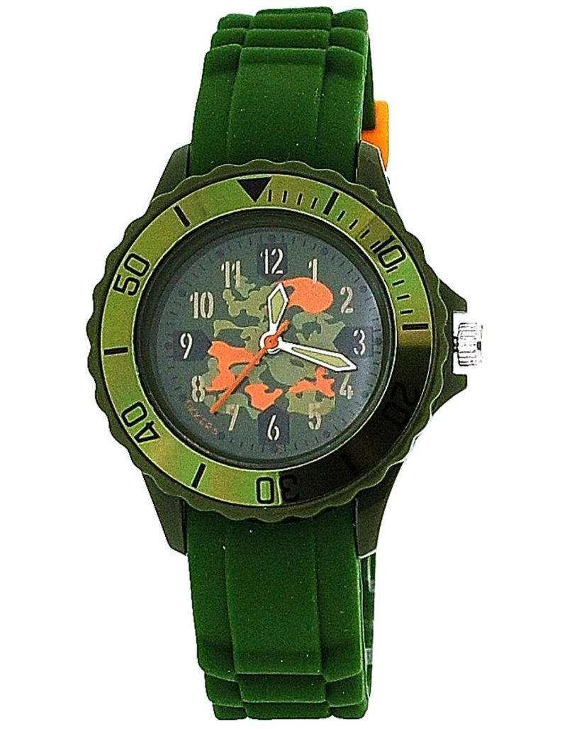Tikkers Boys Khaki Green Camouflage Design Rubber / Silicone Strap Watch TK0030