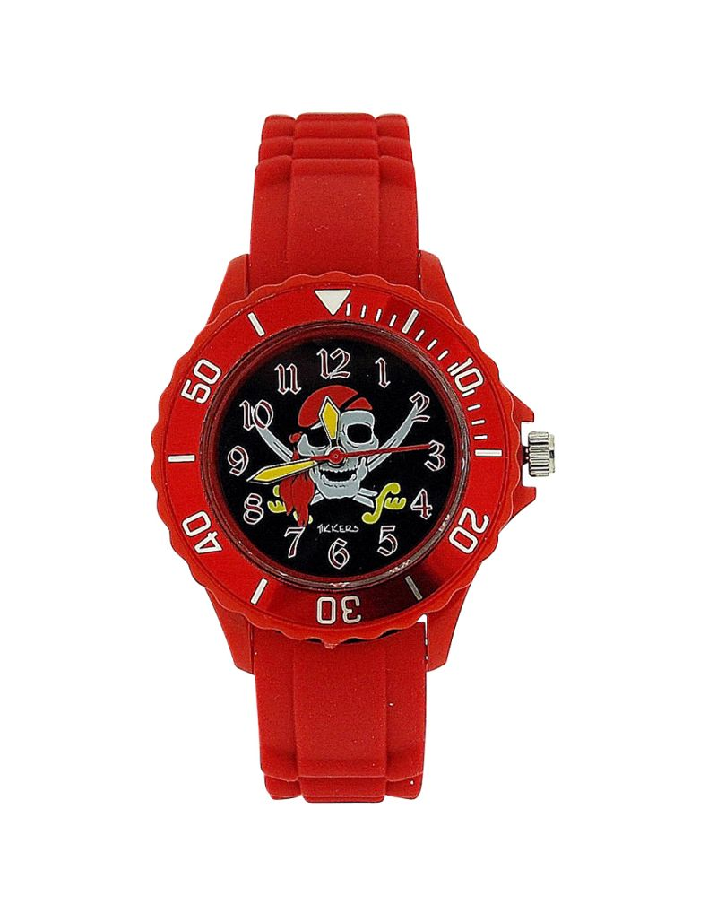 Tikkers Boys Skull & Cross Bone Motiff Red Rubber / Silicone Strap Watch TK0055