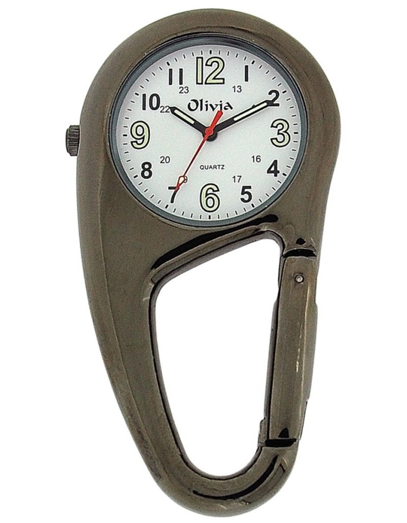 TOC Clip On Doctors Nurses Unisex Carabiner Gun Metal Pocket Fob Watch TOC55