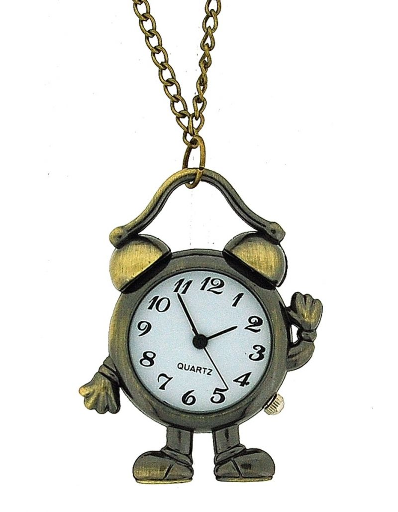 "The Olivia Collection Ladies Aged Look Alarm Clock Pendant Watch On 30"" Chain"