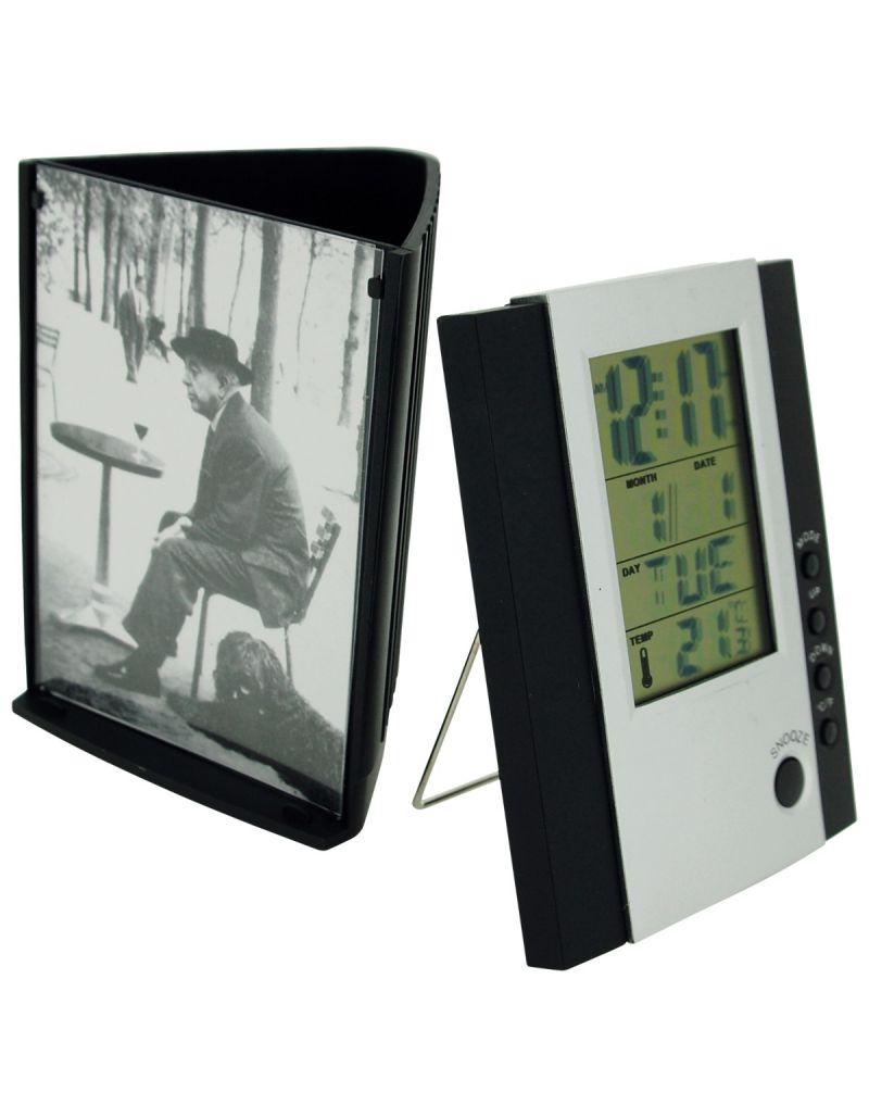 TOC 3 In 1 Gift - Digital Alarm Clock, Picture Frame & Pen/Pencil Holder Black