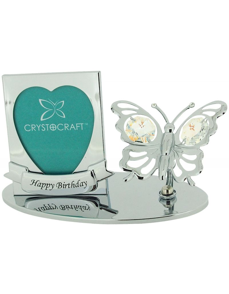 """Crystocraft Free Standing Chrome Plated """"Happy Birthday"""" Photo Frame Ornament Made With Swarovski Crystals"""