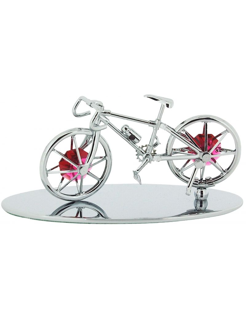 Crystocraft Freestanding Chrome Plated Bicycle Made For Two Ornament Made with With Swarovski Crystals