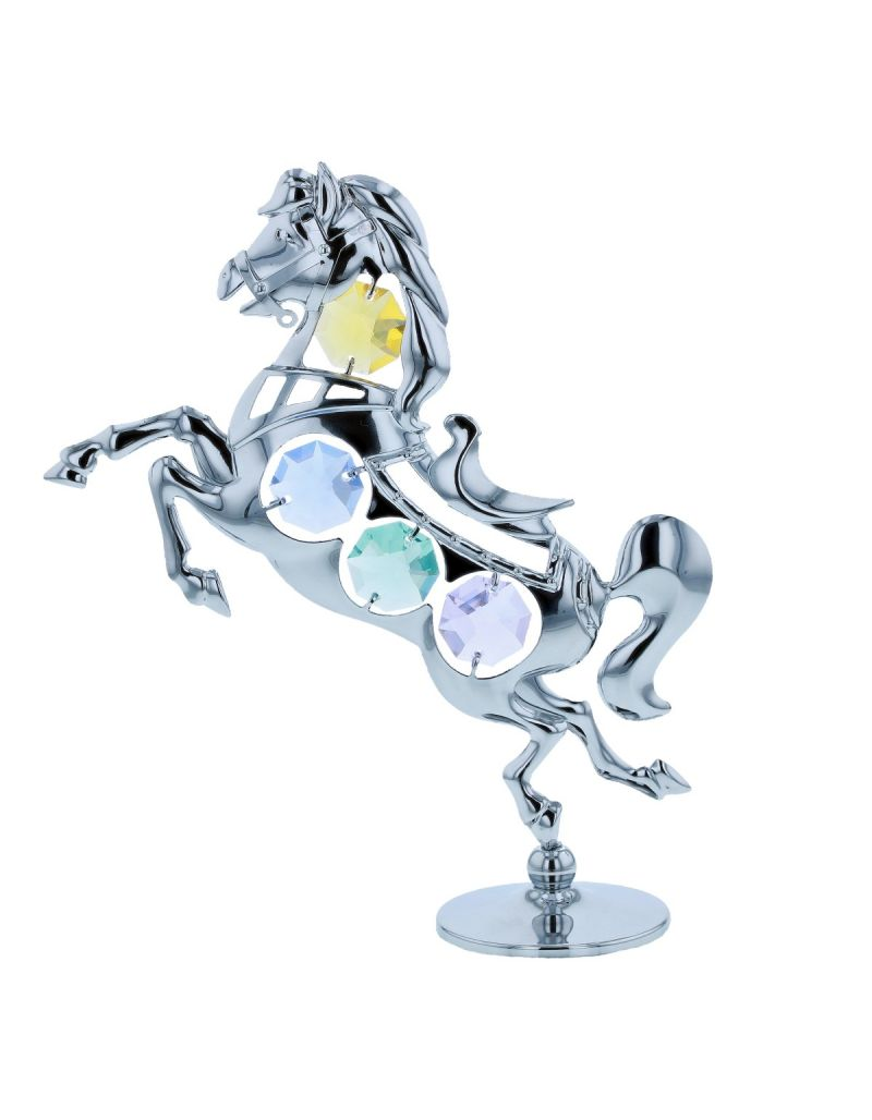 Crystocraft Horse Miniature Freestanding Chrome Plated Ornament Made With Swarovski Crystals.