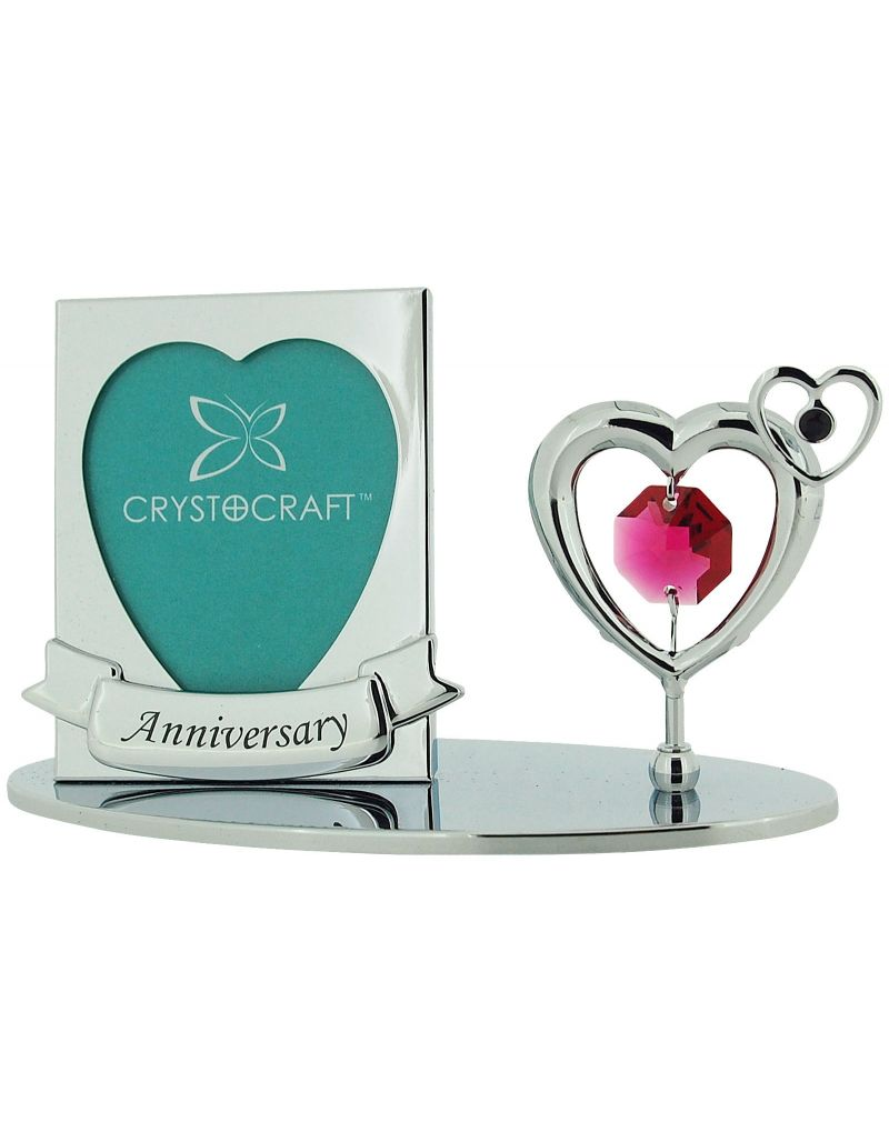 """Crystocraft Free Standing Chrome Plated """"Anniversary"""" Photo Frame Ornament Made With Swarovski Crystals"""