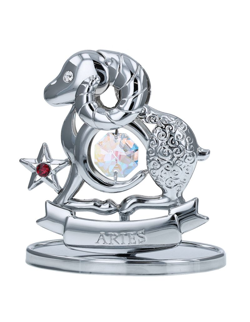 Crystocraft Aries Zodiac Sign Crystal Ornament With Swarovski Elements Gift Boxed Aurora Borealis Crystals Silver Chrome Plated Perfect Keepsake Collectors Gift Figurine Home Decor Astrology