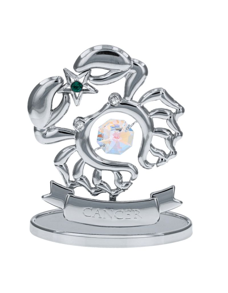 Crystocraft Cancer Zodiac Sign Crystal Ornament With Swarovski Elements Gift Boxed Aurora Borealis Crystals Silver Chrome Plated Perfect Keepsake Collectors Gift Figurine Home Decor Astrology