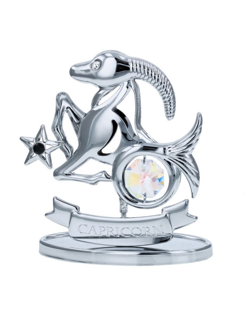 Crystocraft Capricorn Zodiac Sign Crystal Ornament With Swarovski Elements Gift Boxed Aurora Borealis Crystals Silver Chrome Plated Perfect Keepsake Collectors Gift Figurine Home Decor Astrology