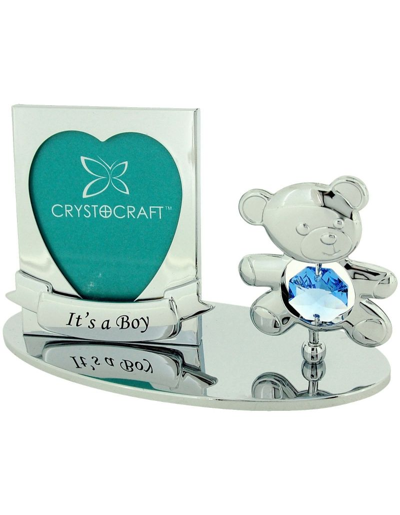 """Crystocraft Freestanding Chrome Plated """"It's A Boy"""" Photo Frame Ornament Made With Swarovski Crystals"""