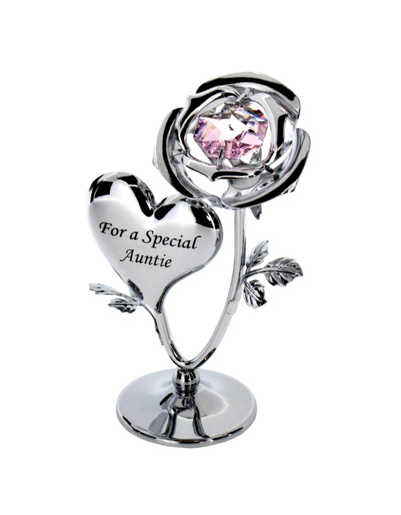 Crystocraft Chrome Plated Rose & Heart Ornament (AUNTIE)