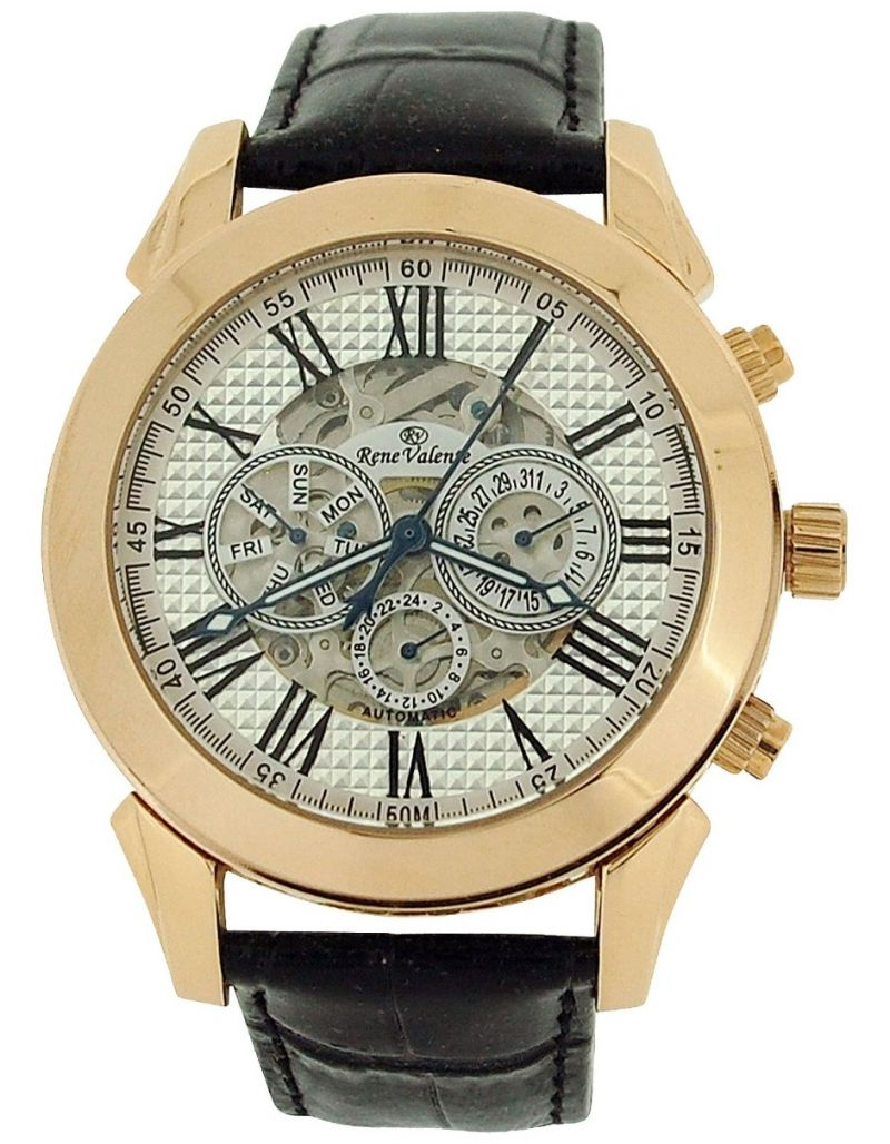 Rene Valente Gents Automatic Skeleton Dial Brown Leather Strap Watch RNV64B