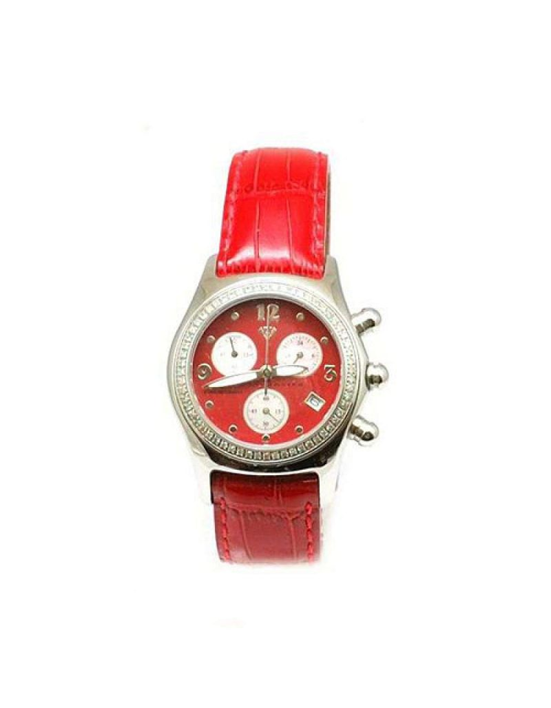 Aqua Master 0.75ct Diamond Chronograph Leather Strap Ladies Sports Watch DW24