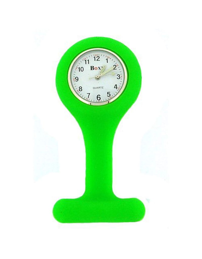 Boxx Green Unisex Rubber Infection Control Nurses Fob Watch with Luminous Hands