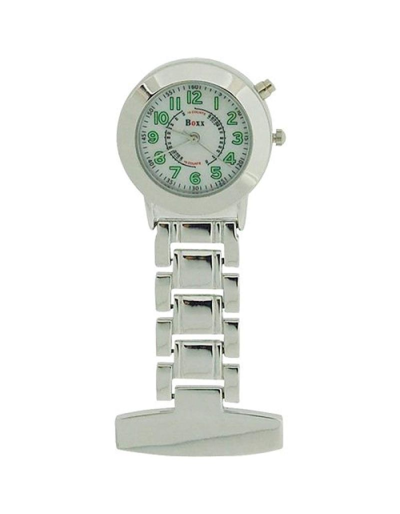 Boxx Silver Quartz Analogue Lumibrite Nurses Fob Watch With Back Light