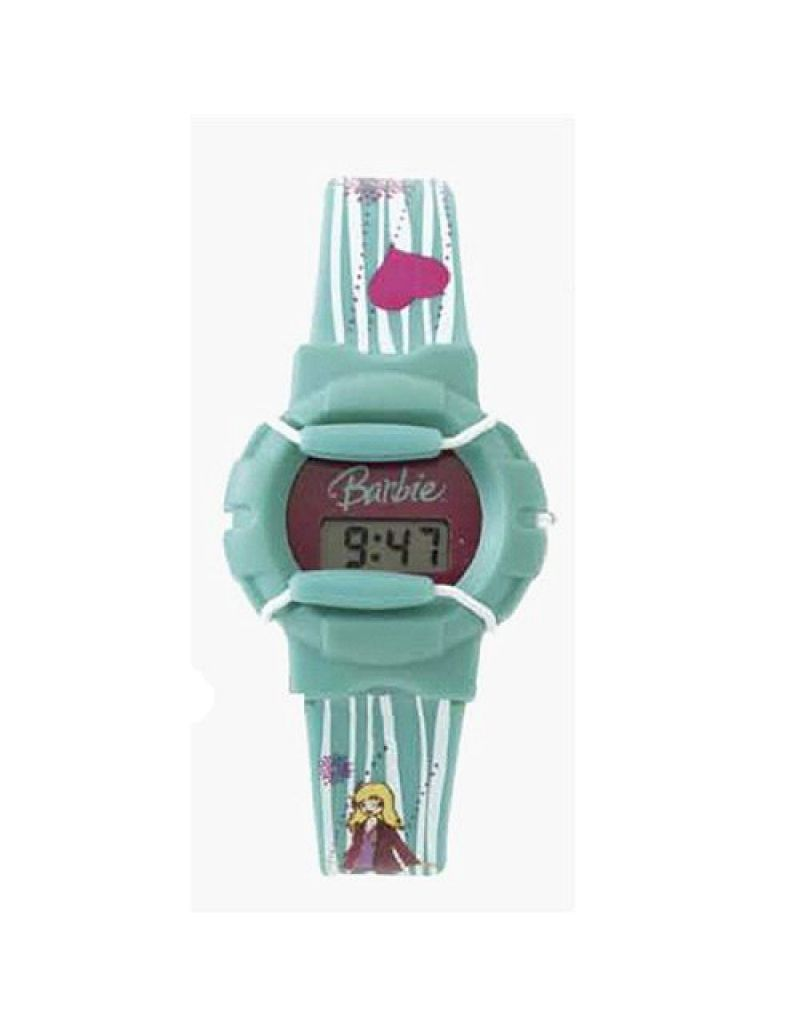 Barbie Turquoise Stripe Strap Girls Digital Watch BM-WR08