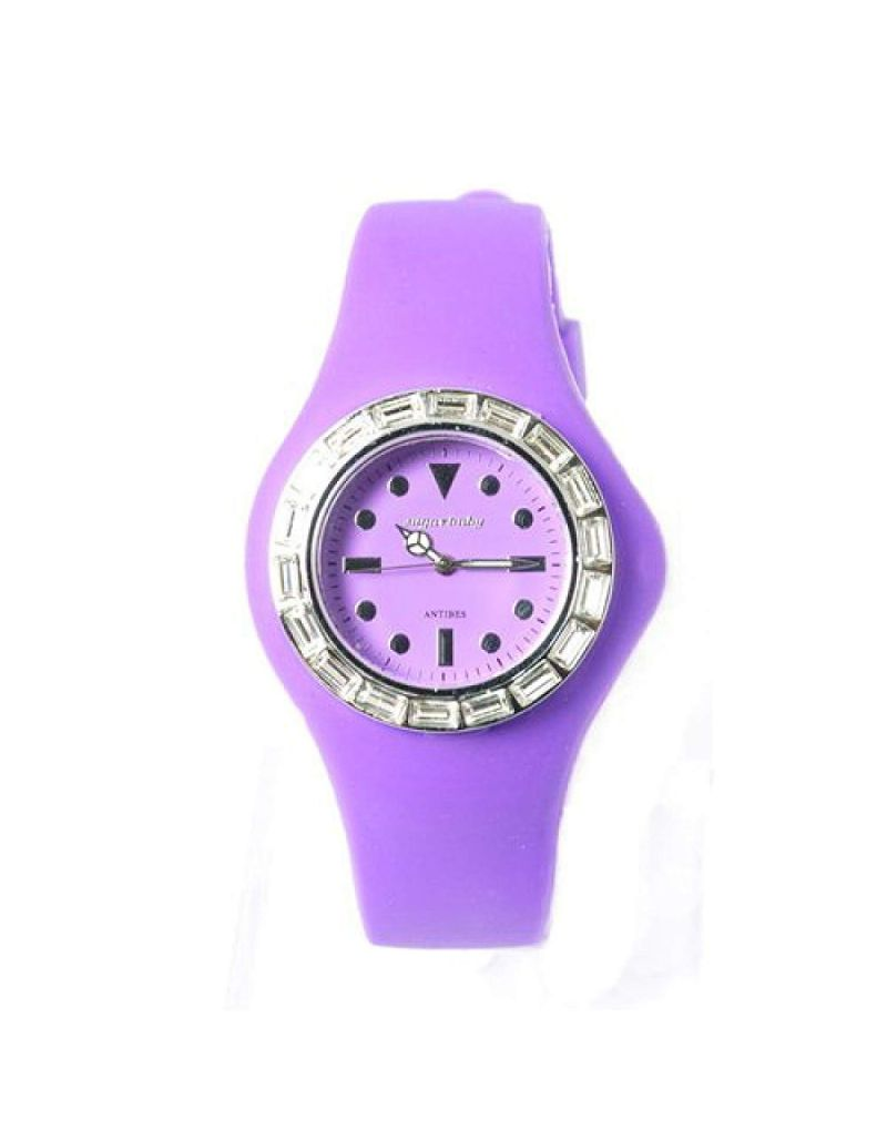 Sugarbaby Antibes Purple Silicone Strap CZ Ladies Fashion Watch SB018